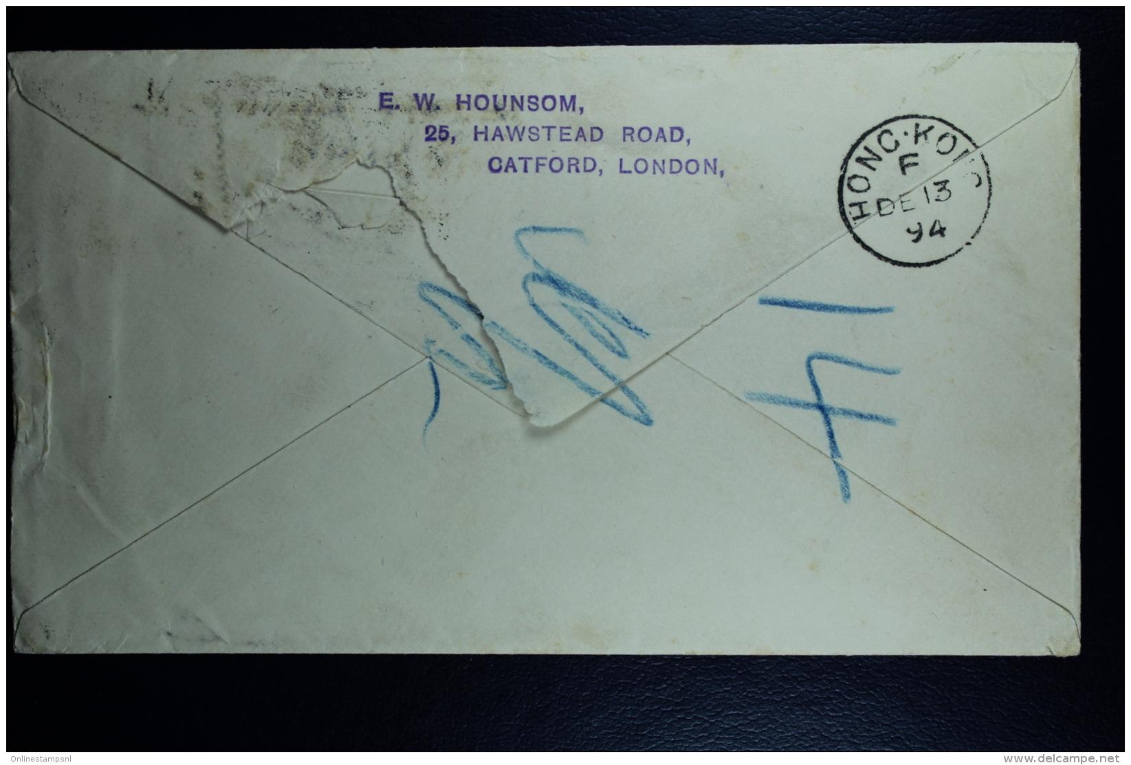 Hong Kong: Stationary Cover Catford UK To Hong Kong 1894 Uprated - Hong Kong (...-1997)