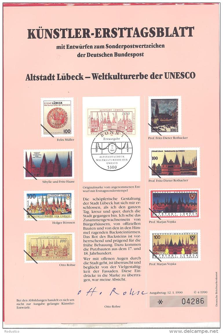 Bund  Künstler-Ersttagsblatt  4/1990  #  04286   Altstadt Lübeck  UNESCO - [7] Federal Republic