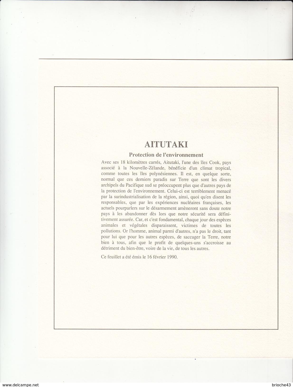 AITUTAKI - COOK ISLAND  - BLOC 1990 MNH** - PROTECT THE ENDANGERES EARTH - DOCUMENT DE LA POSTE - Aitutaki