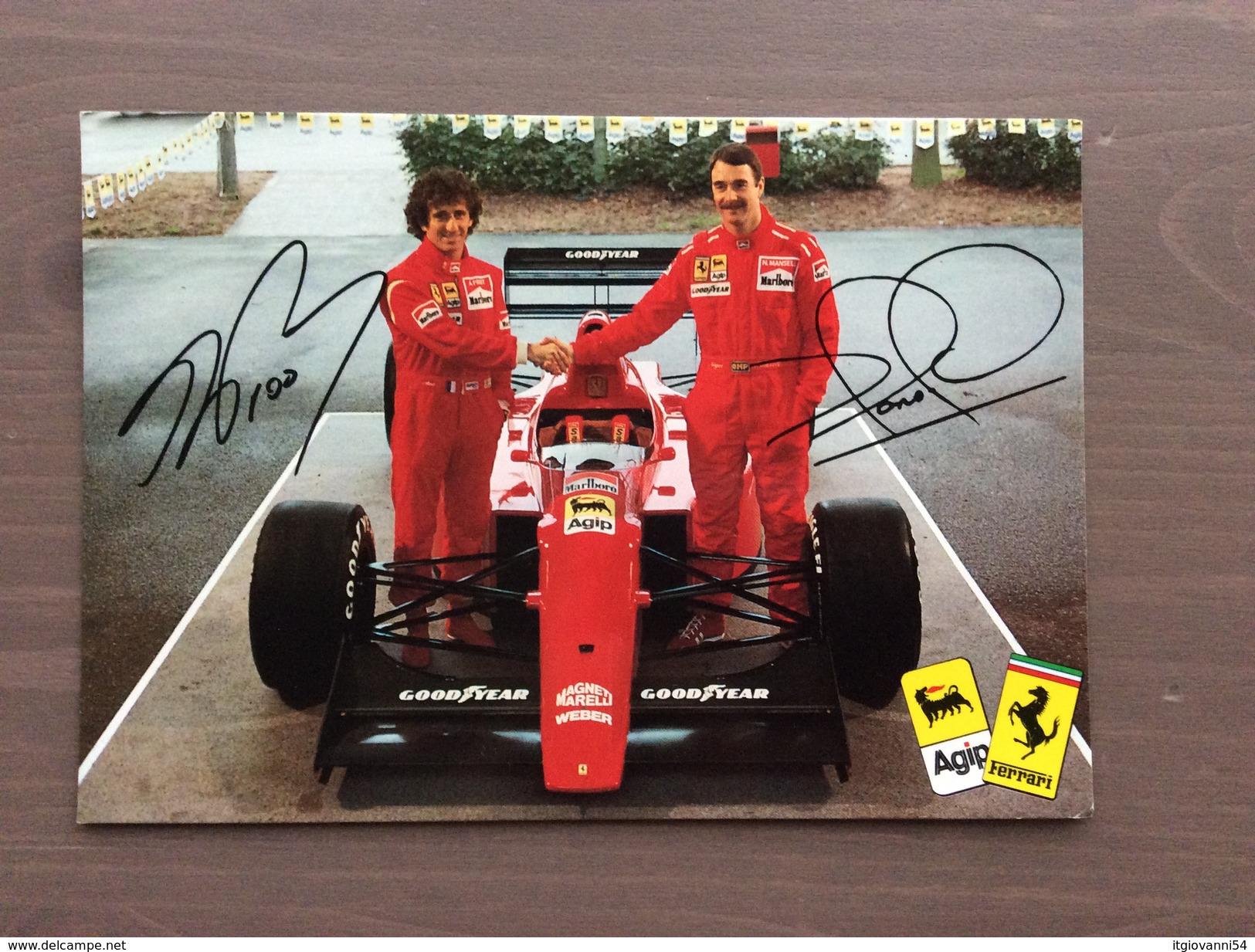 Cartoncino Ufficiale Ferrari Agip Presentazione Stagione  F1 Del 1990 Prost E Mansell - Grand Prix / F1