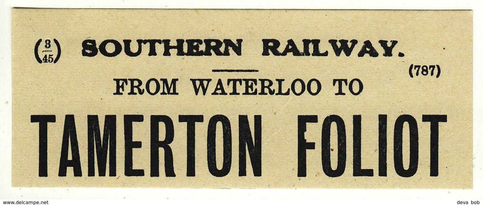 Railway Luggage Label SR Waterloo To Tamerton Foliot Devon Closed 1962 - Railway