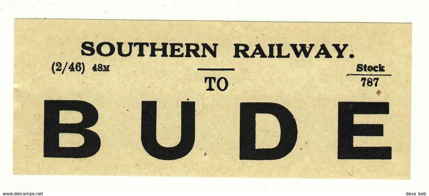 Railway Luggage Label SR To Bude Cornwall Closed 1966 - Railway