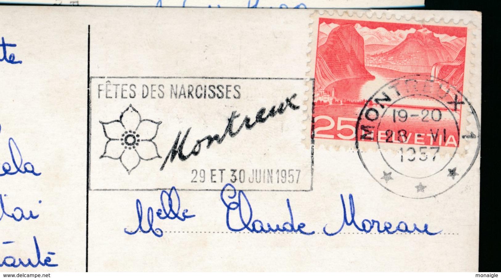 Oblitération Mécanique Sur Carte Postale FETES DES NARCISSES MONTREUX 1957 Suisse - Poststempel