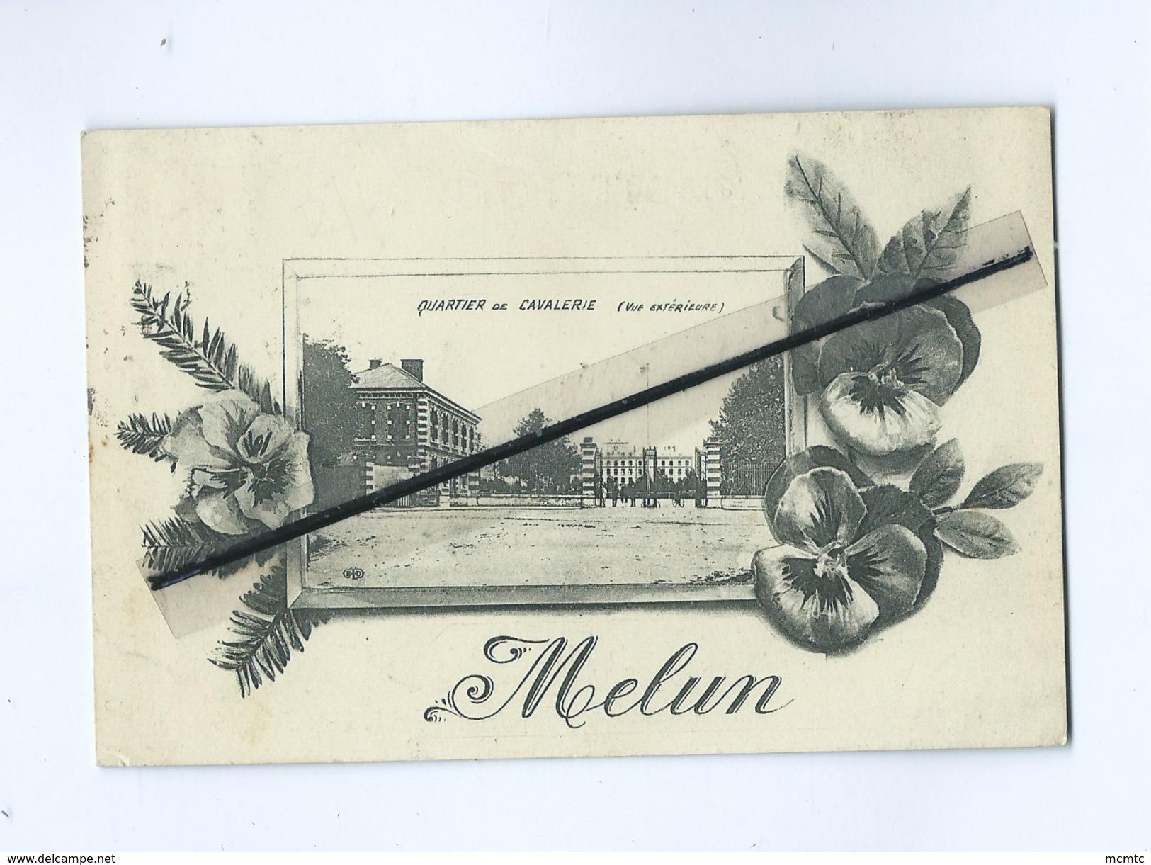 CPA Souple -  Quartier De Cavalerie (Vue Extérieure)  -   Melun   (Fleurs Pensée) - Melun