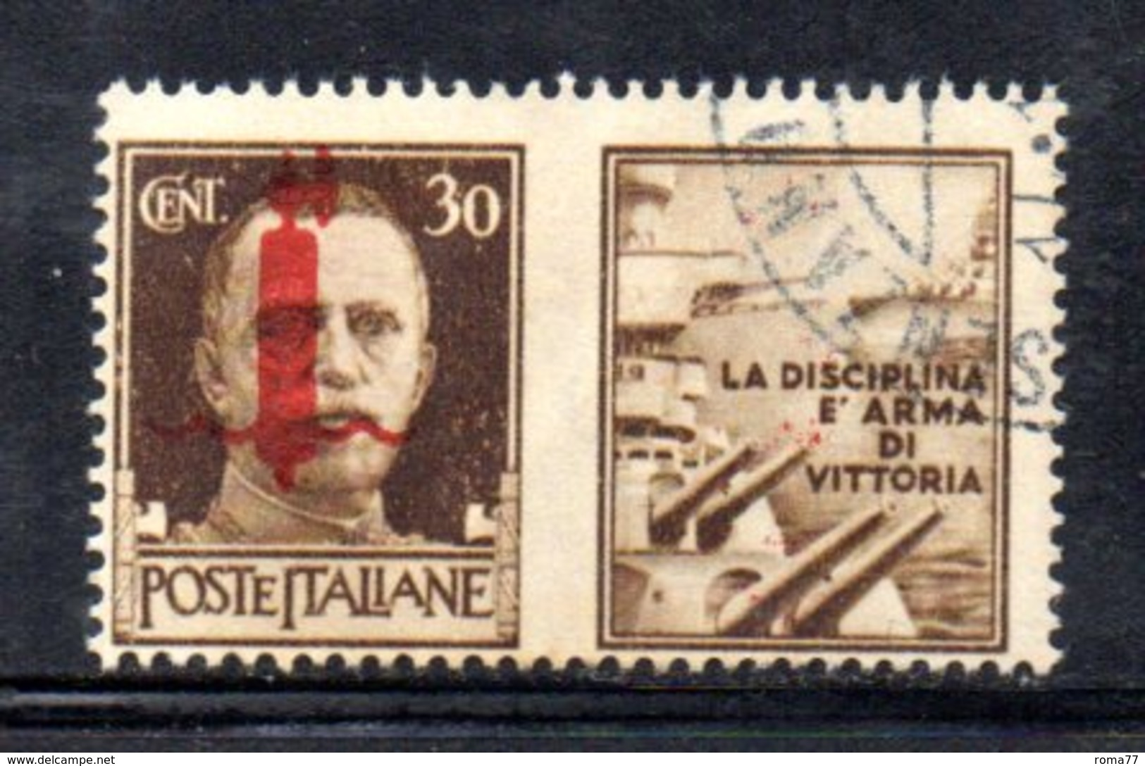 """XP2270 - REPUBBLICA SOCIALE RSI , Propaganda Guerra 30 Cent Usato  """" La Disciplina ..."""" - 4. 1944-45 Repubblica Sociale"""
