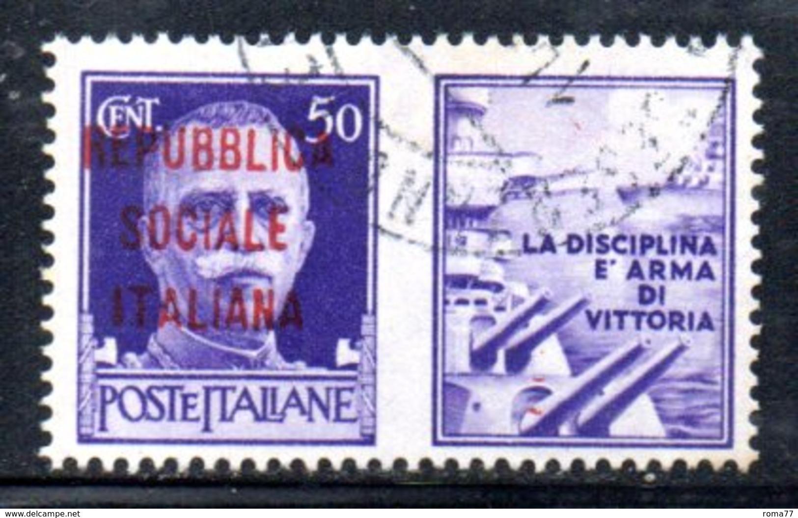 """XP2271 - REPUBBLICA SOCIALE RSI , Propaganda Guerra 50 Cent Usato  """" La Disciplina ..."""" - 4. 1944-45 Repubblica Sociale"""