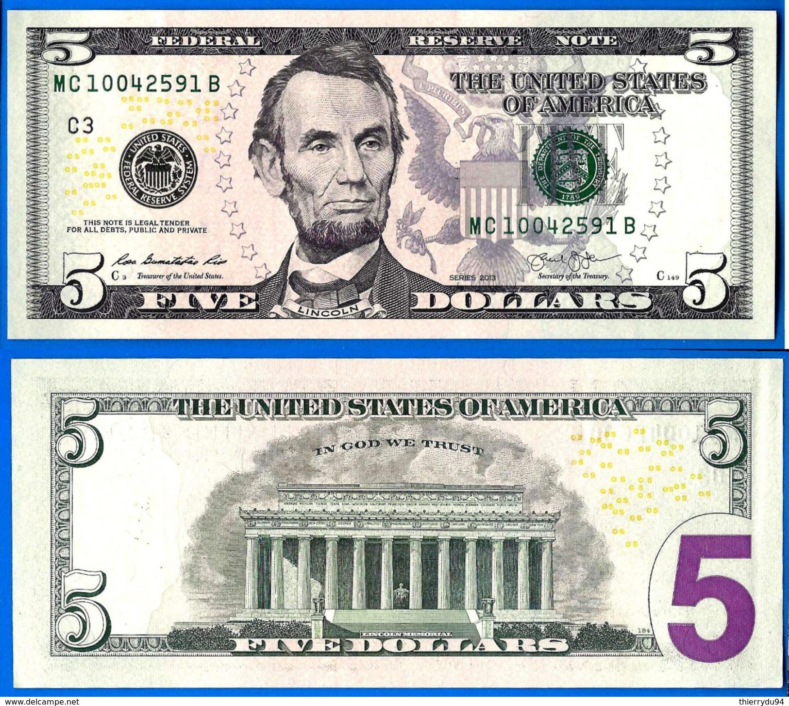 Usa 5 Dollars 2013 Neuf UNC Mint Philadelphia C3 Suffixe B Etats Unis United States Dollars US Skrill Paypal OK - Large Size - Taglia Grande (...-1928)