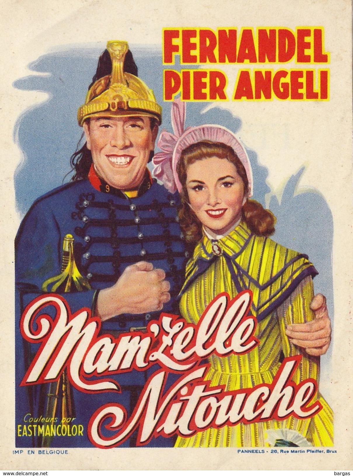 Petite Affiche De Présentation Du Film Mam'zelle Nitouche Fernandel Pier Angeli Au Metropole à Bruxelles - Programmes