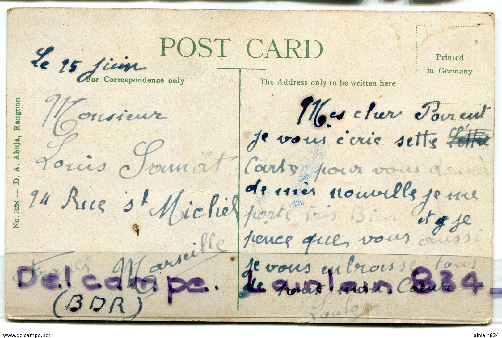 - Birmanie - Rangoon - Yangon - Buddha's Image, écrite, Belles Couleurs, BE, Rare, Pour Marseille, Scans. - Cartes Postales