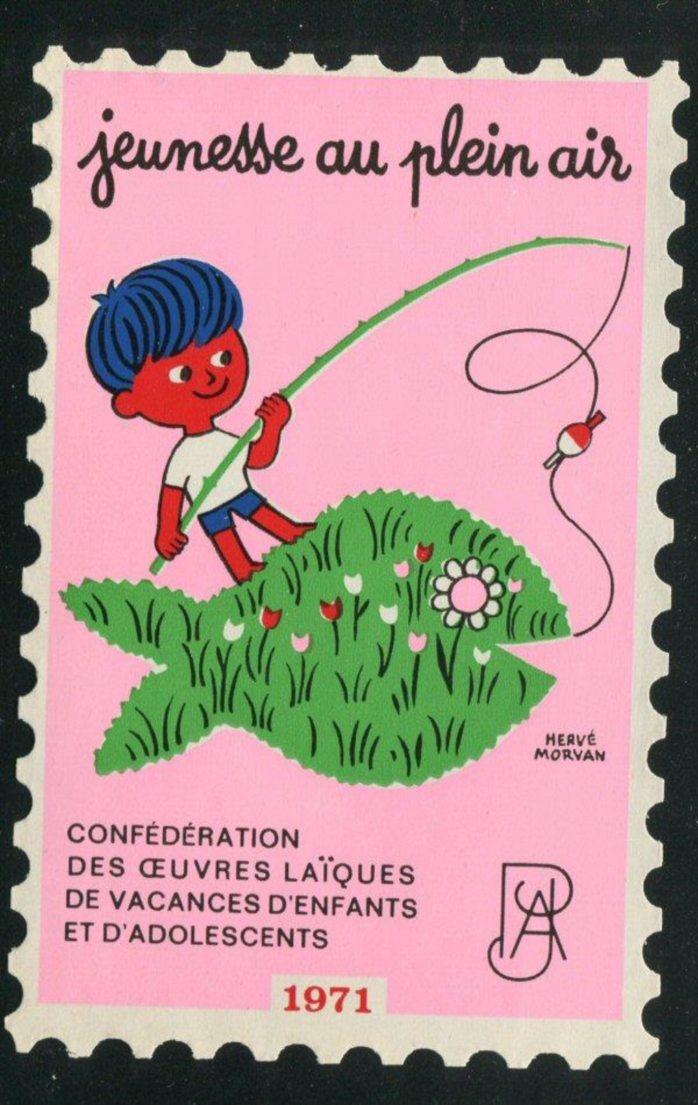 France Grande Vignette Antituberculeux 1971 Jeunesse Au Plein Air Windshield Label Greens 195.w2  3 3/4 X 5 1/2 - Antituberculeux