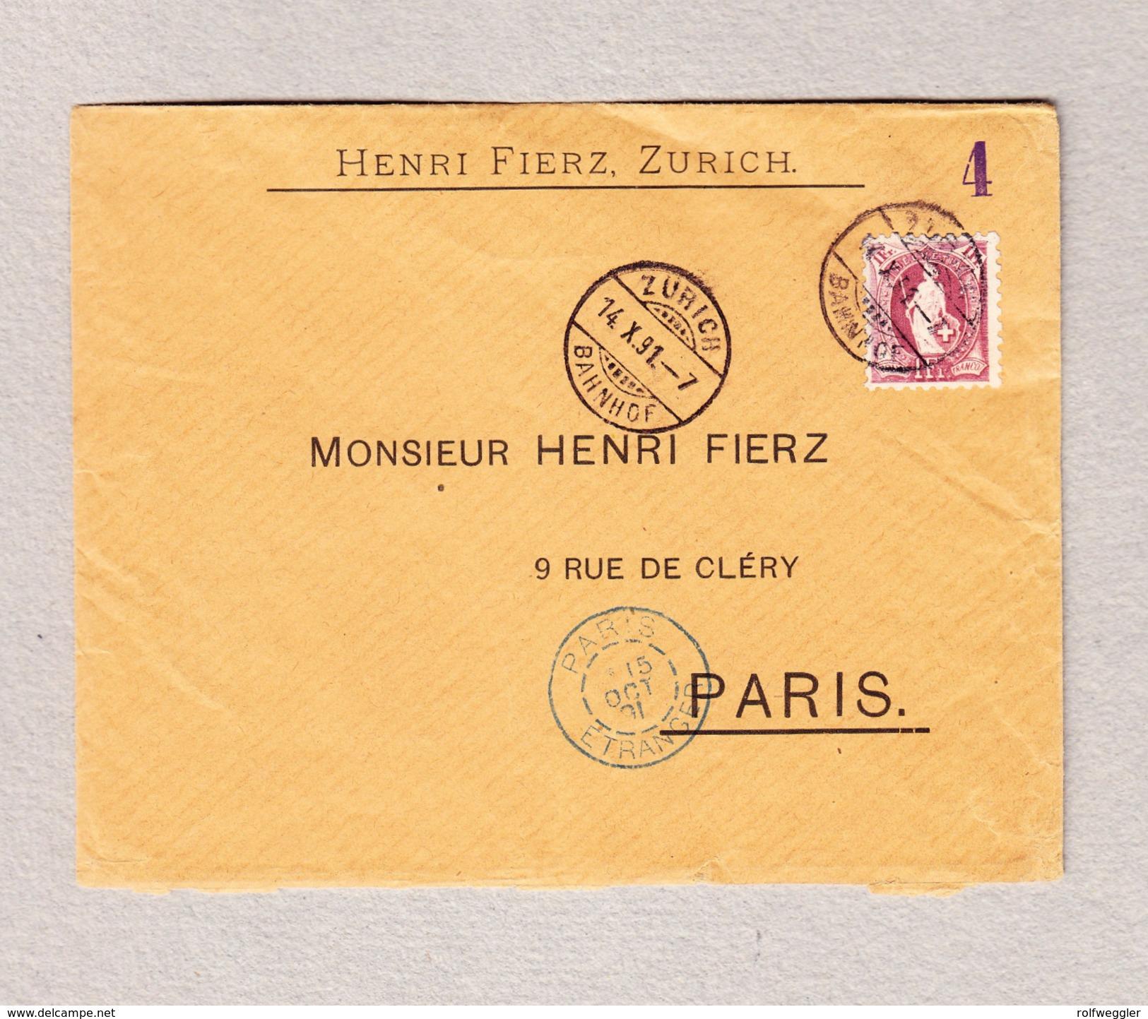 Schweiz Stehende 1Fr Einzelfrankatur Zürich 14.10.1891 Brief Nach Paris (Zähnung 1a) - Lettres & Documents