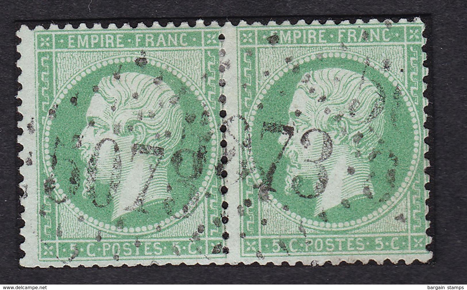 France Y&T 20 (2x) Oblitération GC 5073 Téniet-el-Haad - Alger - 1849-1876: Période Classique