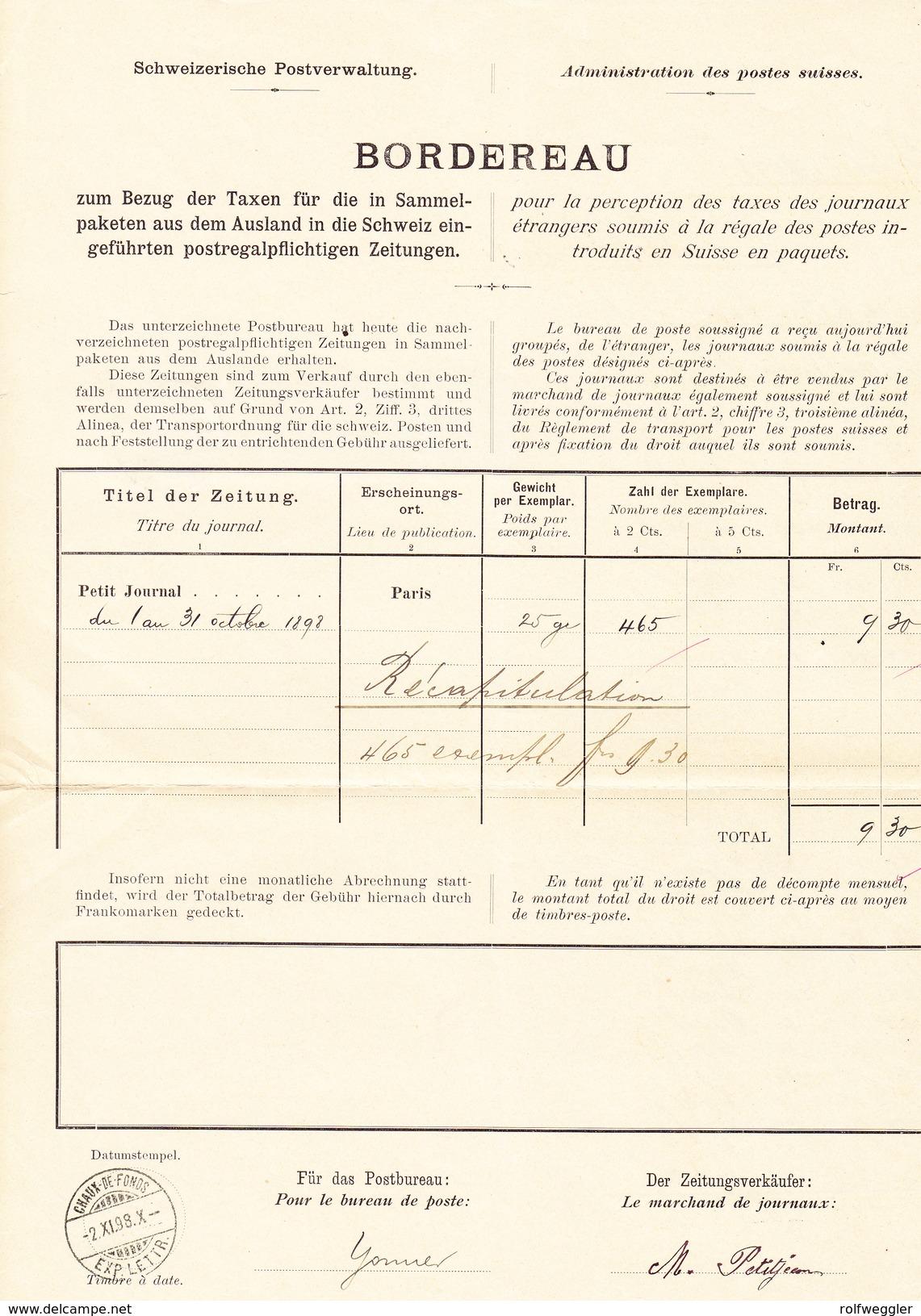 Schweiz Stehende 30Rp, 3Fr. (3) Chaux-de-Fonds 2.11.1898 Auf Postverwaltung Bordereau - 1882-1906 Armoiries, Helvetia Debout & UPU