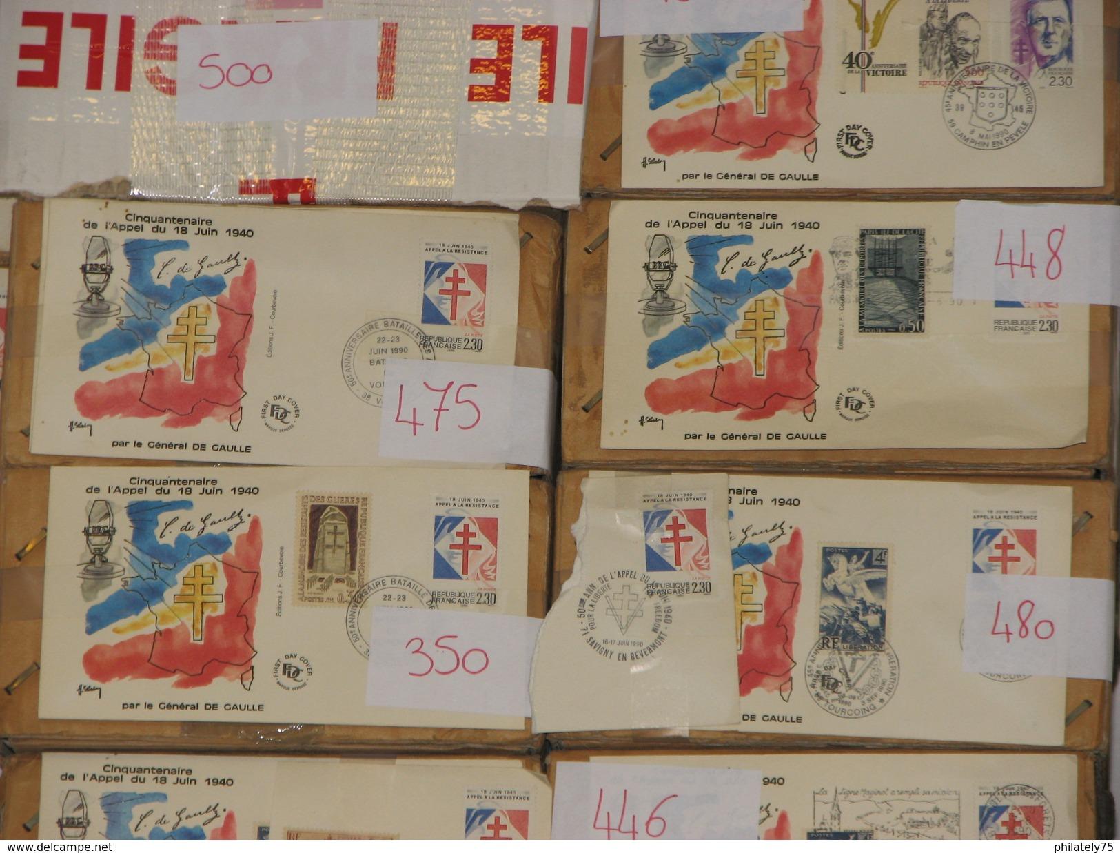 LIQUIDATION DE STOCKS AVANT FERMETURE. 50.000 FDC ET ENVELOPPES COMMEMORATIVES FRANCE 1990 DE GAULLE ET APPEL JUIN 1940 - FDC