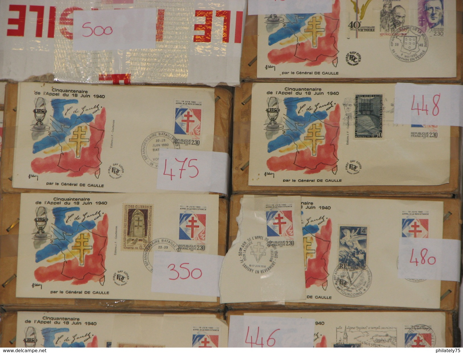 LIQUIDATION DE STOCKS AVANT FERMETURE. 50.000 FDC ET ENVELOPPES COMMEMORATIVES FRANCE 1990 DE GAULLE ET APPEL JUIN 1940 - De Gaulle (General)