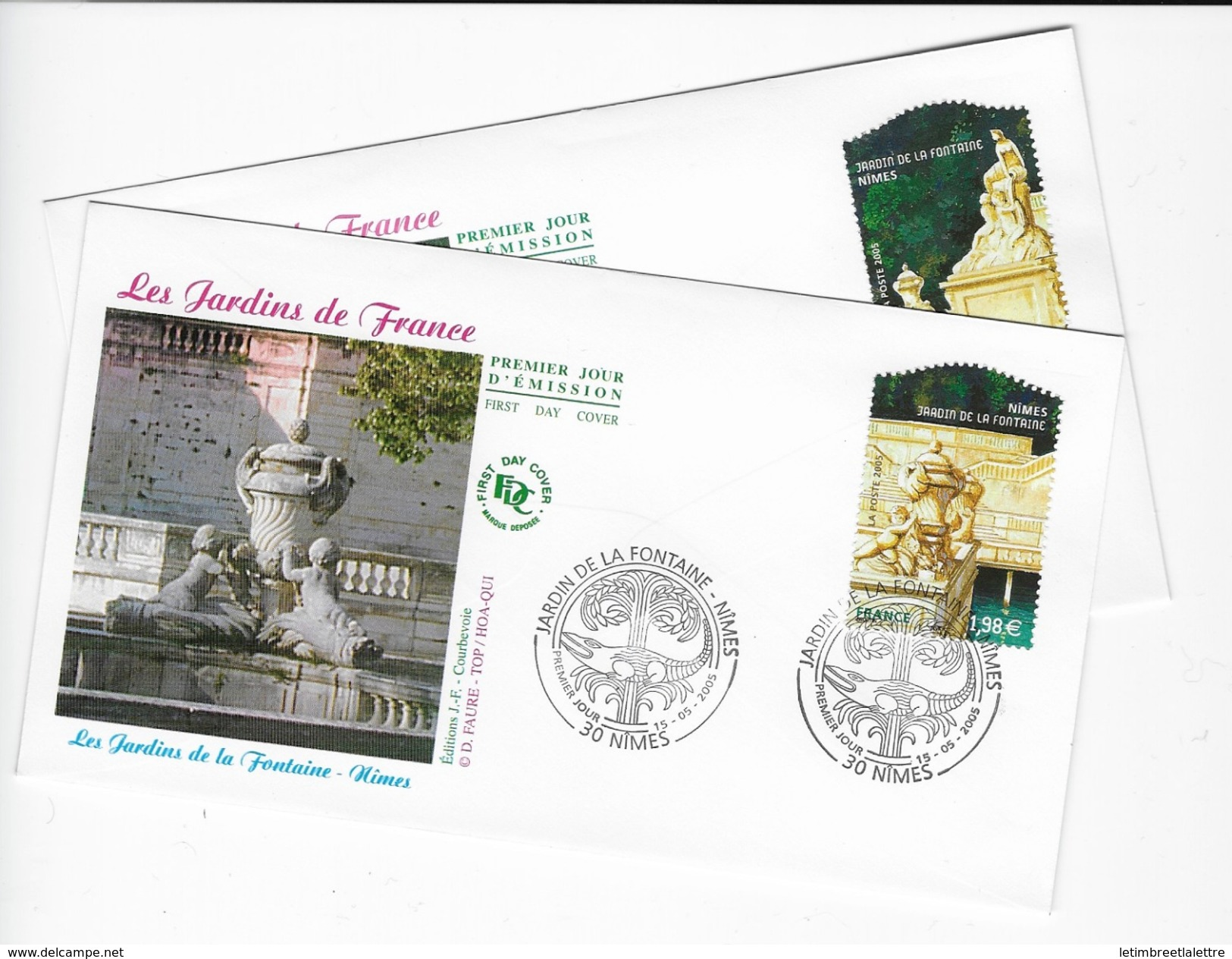 """Enveloppes  1er Jour FDC 2005   2 Enveloppes """"Les Jardins De France""""4 - FDC"""