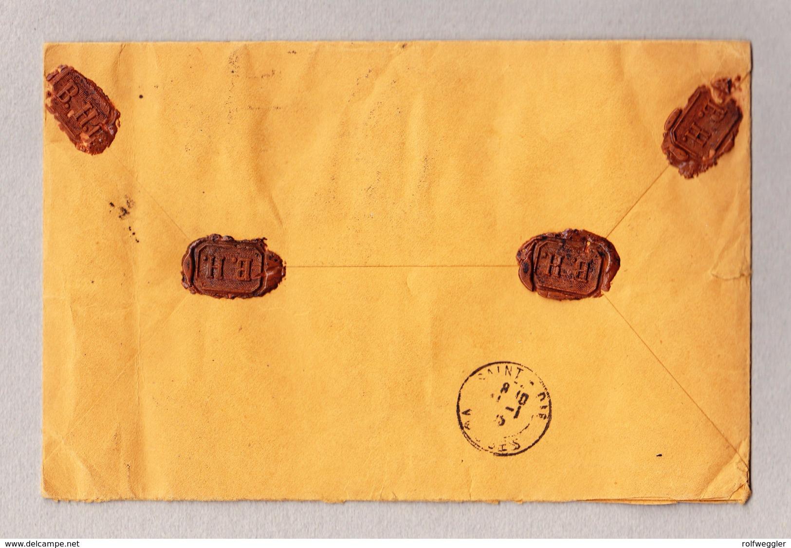 Schweiz Stehende Helvetia 1Fr Perfin Einzelfrankatur Gest. Basel 10.1.1905 R-Brief Nach St Dié Frankreich - Lettres & Documents