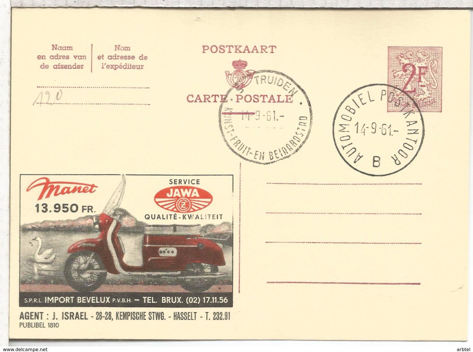 BELGICA ENTERO POSTAL PUBLIBEL MOTOCICLETA MANET JAWA MAT S TRUIDEN KUNST FRUIT 1961 - Motorfietsen