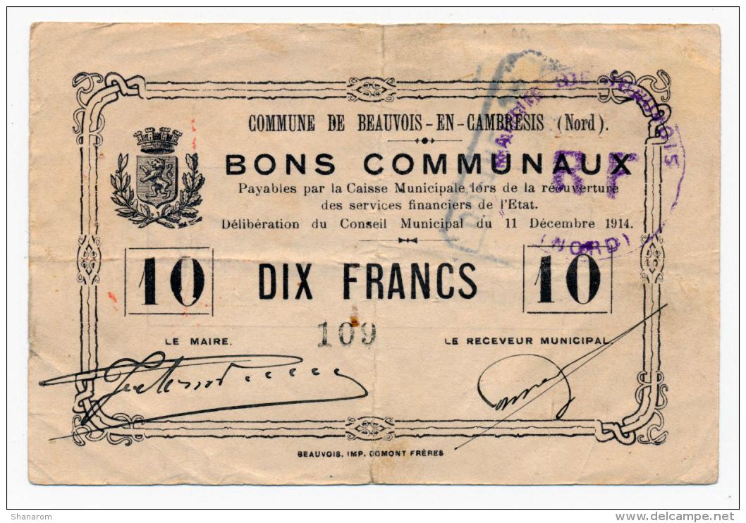 1914 - 1918 // BEAUVOIS-EN-CAMBRESIS // Bon De 10 Francs - Bons & Nécessité