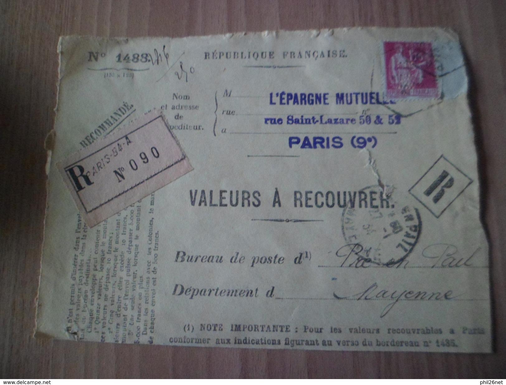 Devant D'envoi Recoimmandé Valeurs à Recouvrer Paris 25/01/1934 Pour Pré En Pail 27/01/1934 Le  N° 289 Perforé EM Seul ! - France
