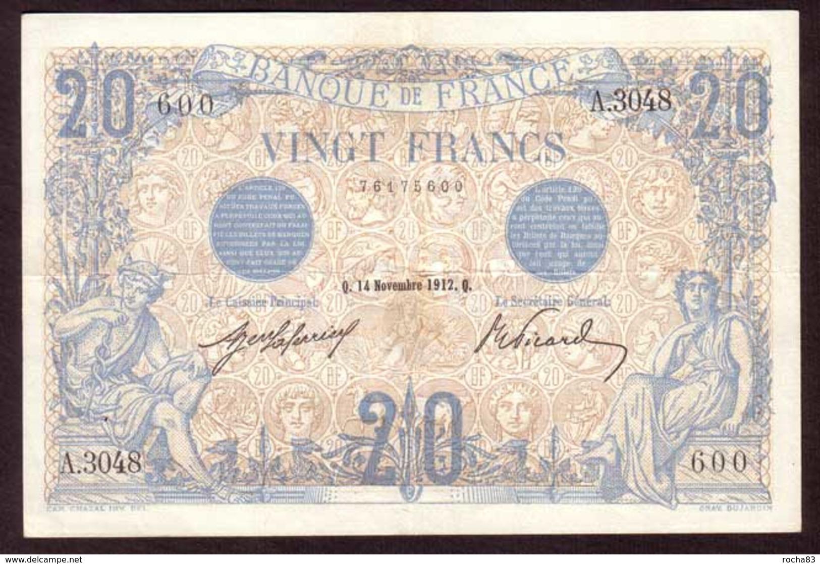 Billet 20 Francs Type BLEU Du 14 11 1912 - TTB + - 1871-1952 Circulated During XXth