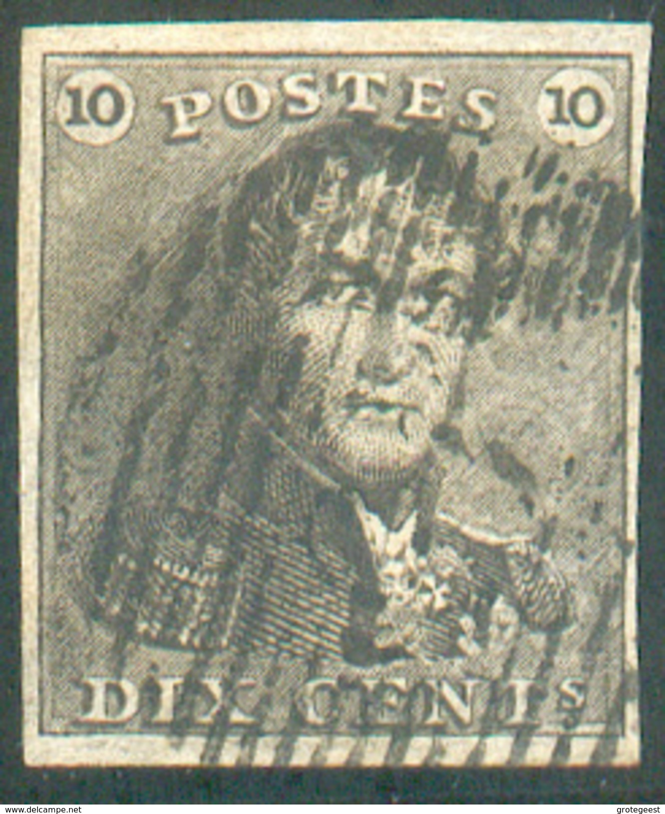 N°1 - Epaulette 10 Centimes Brun, TB Margée Et Léger Pli Accordéon .   - 11597 - 1849 Epaulettes