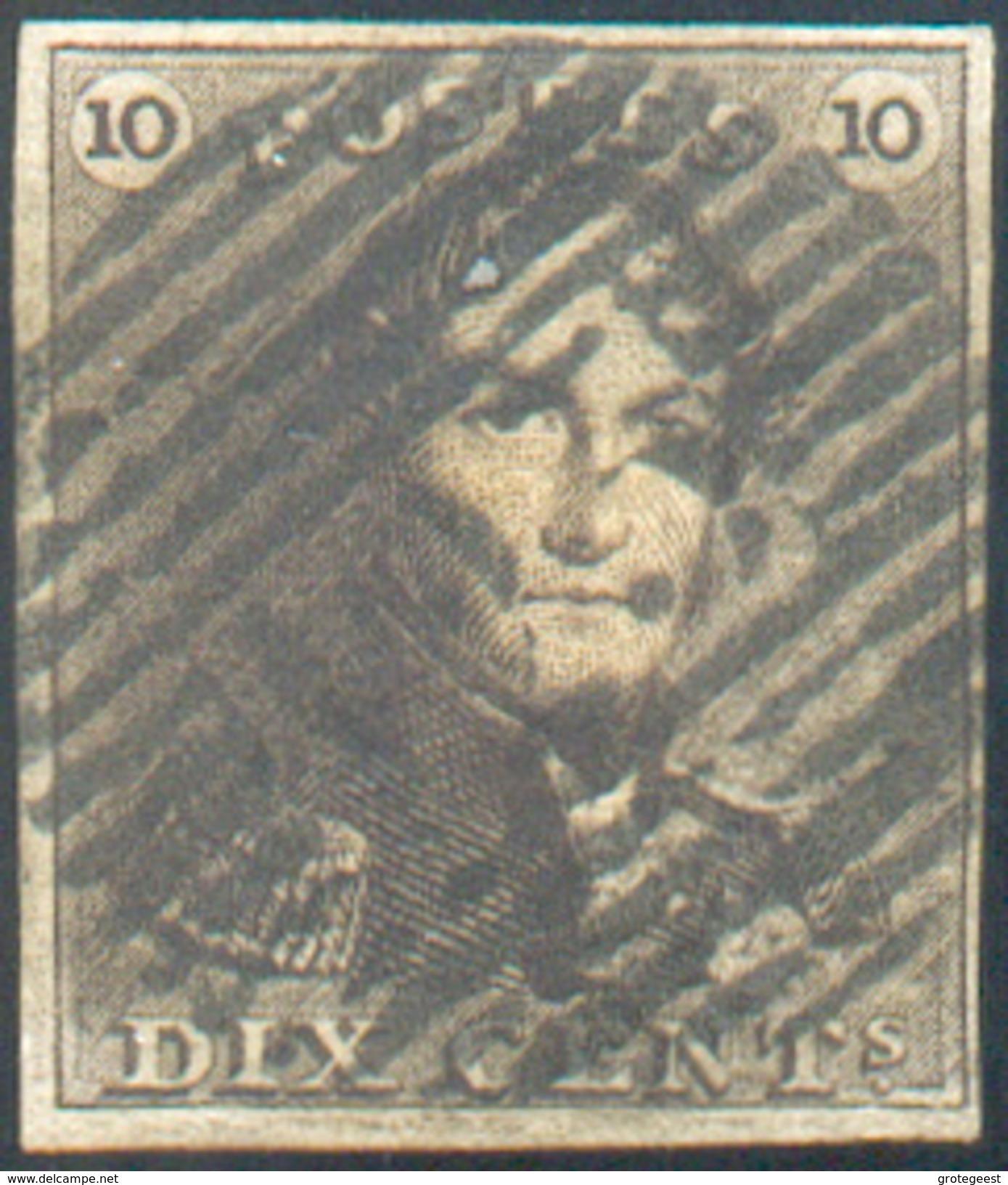 N°1 - Epaulette 10 Centimes Brun Foncé, TB Margée Et Obl. P.123 VERVIERS Idéalement Apposée.  Regard Dégagé.  - 11602 - 1849 Epaulettes