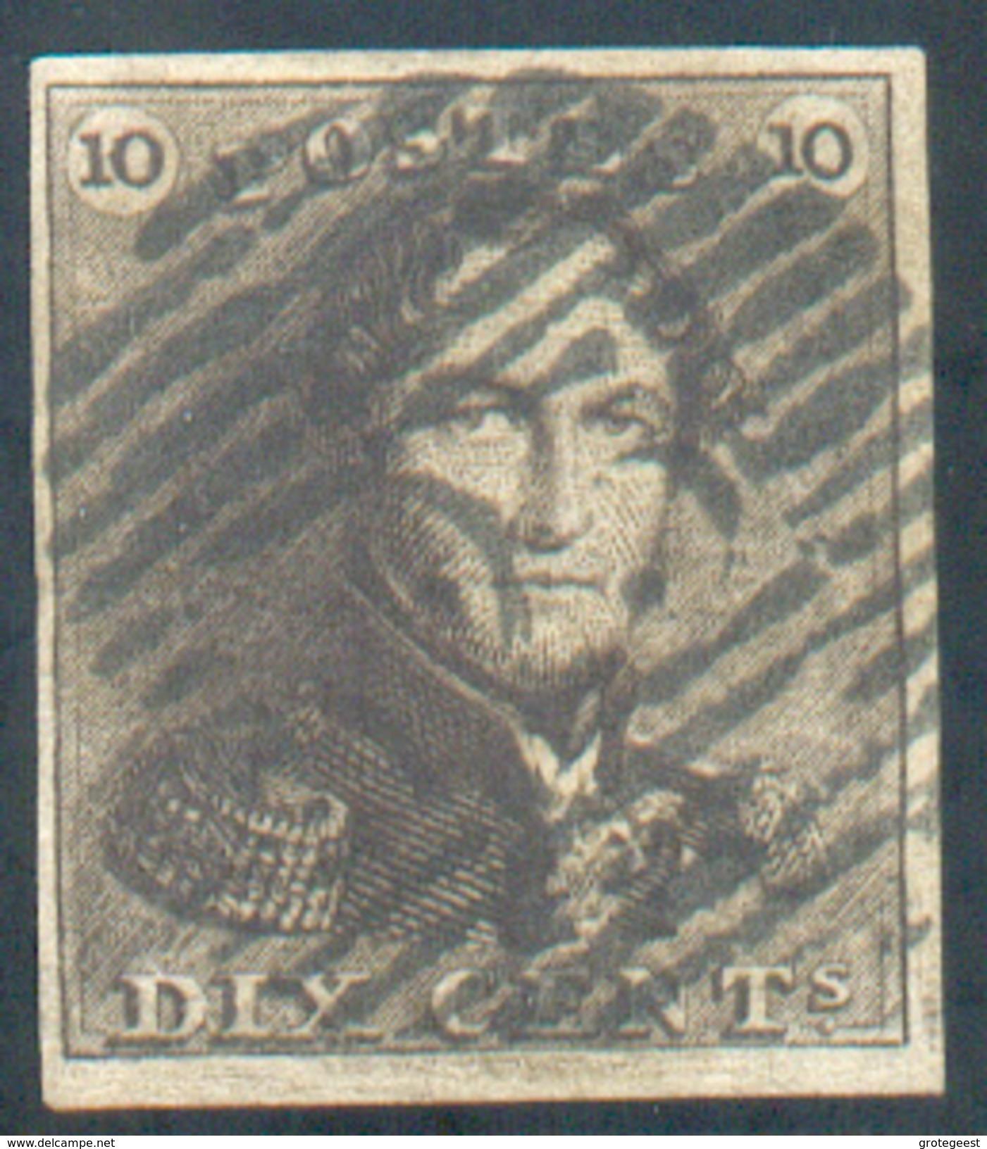 N°1 - Epaulette 10 Centimes Brun, TB Margée Et Obl. P.123 VERVIERS Finement Apposée.  Regard Totalement Dégagé.  - 11603 - 1849 Epaulettes