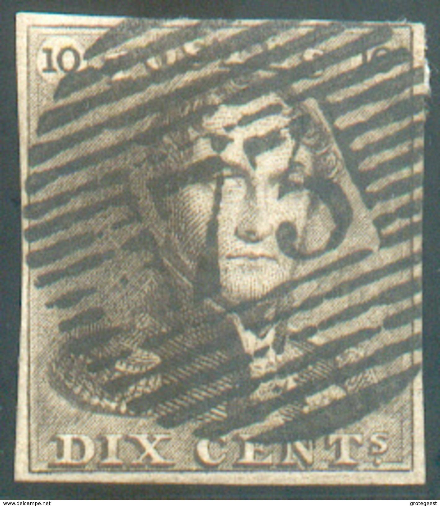 N°1 - Epaulette 10 Centimes Brun, TB Margée Et Obl. P.73 LIEGE Idéalement Apposée - 11605 - 1849 Epaulettes