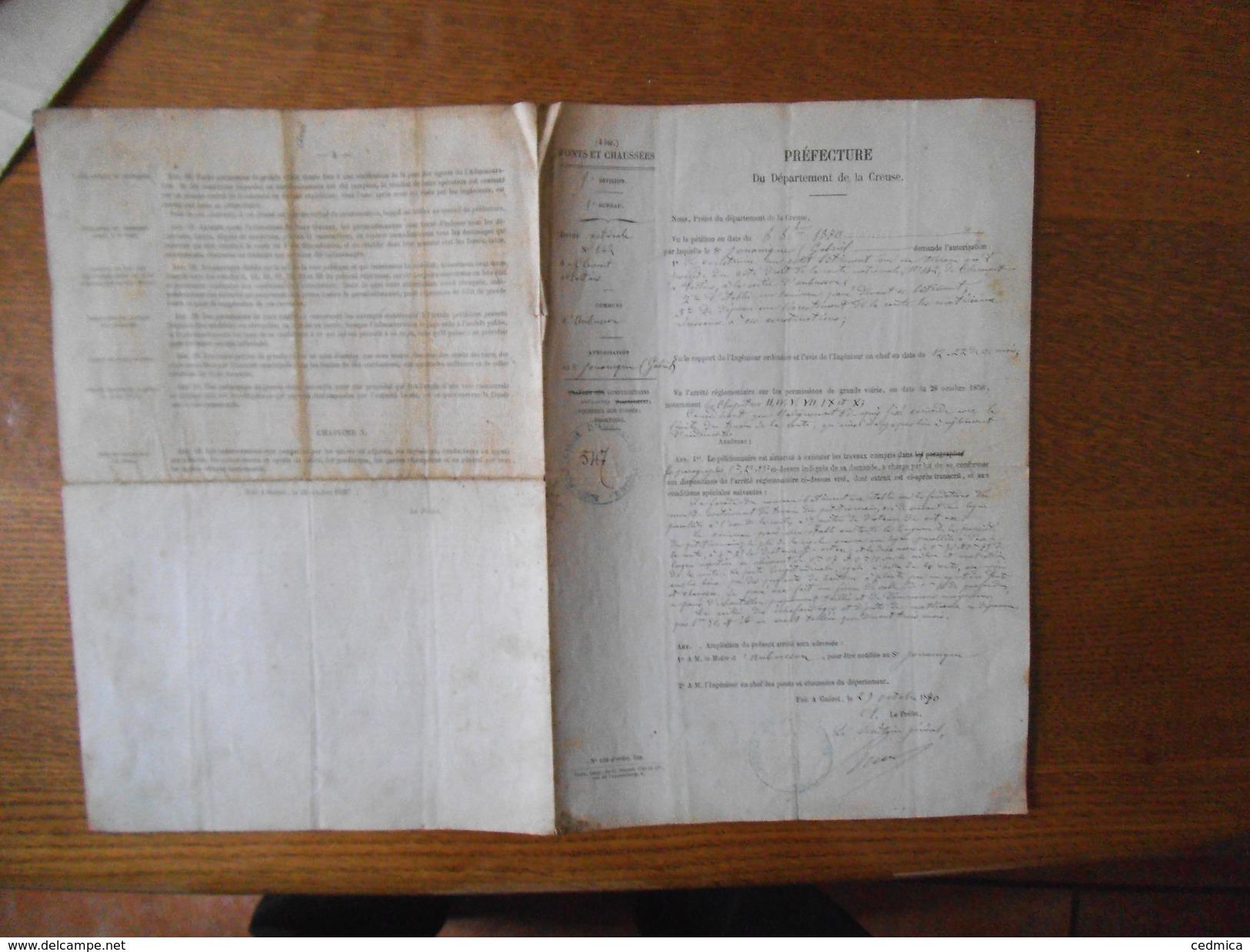 PREFECTURE DU DEPARTEMENT DE LA CREUSE PONTS ET CHAUSSEES LE SECRETAIRE GENERAL 29 OCTOBRE 1870 - Documents Historiques
