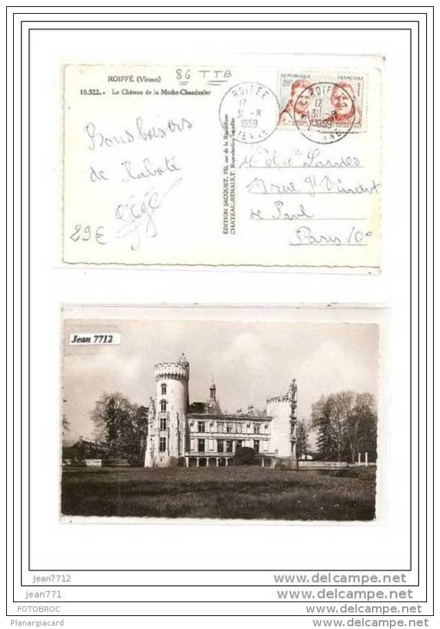 AK/PC/CARTE PHOTO/1668/86/ROIFFE/LE CHATEAU DE LA MOTHE CHANDENIER/1959/TTB - France