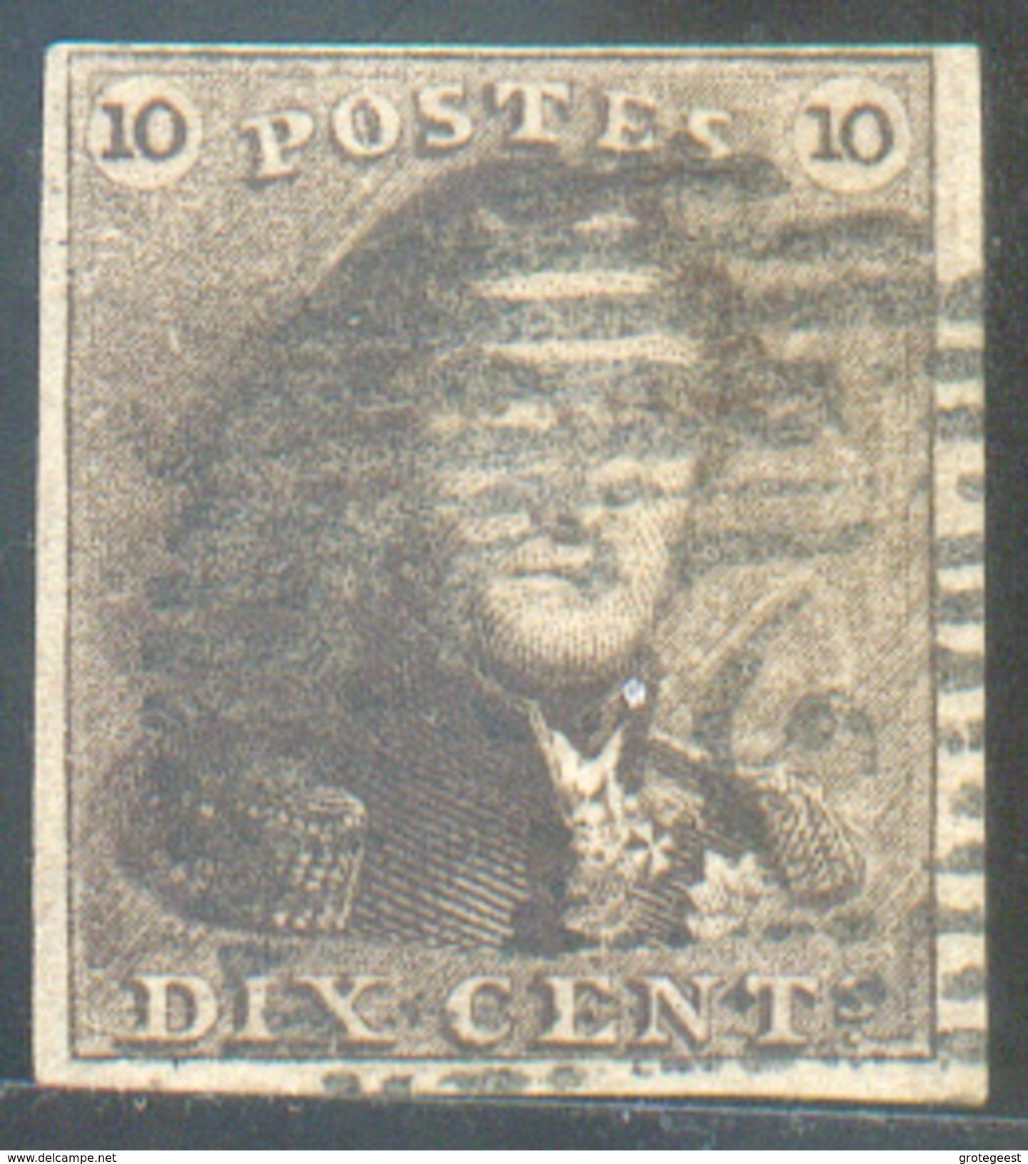N°1 - Epaulette 10 Centimes Brun, Margée Et  Obl. P.25 CHARLEROI Finement Apposée. TTB - 11617 - 1849 Epaulettes