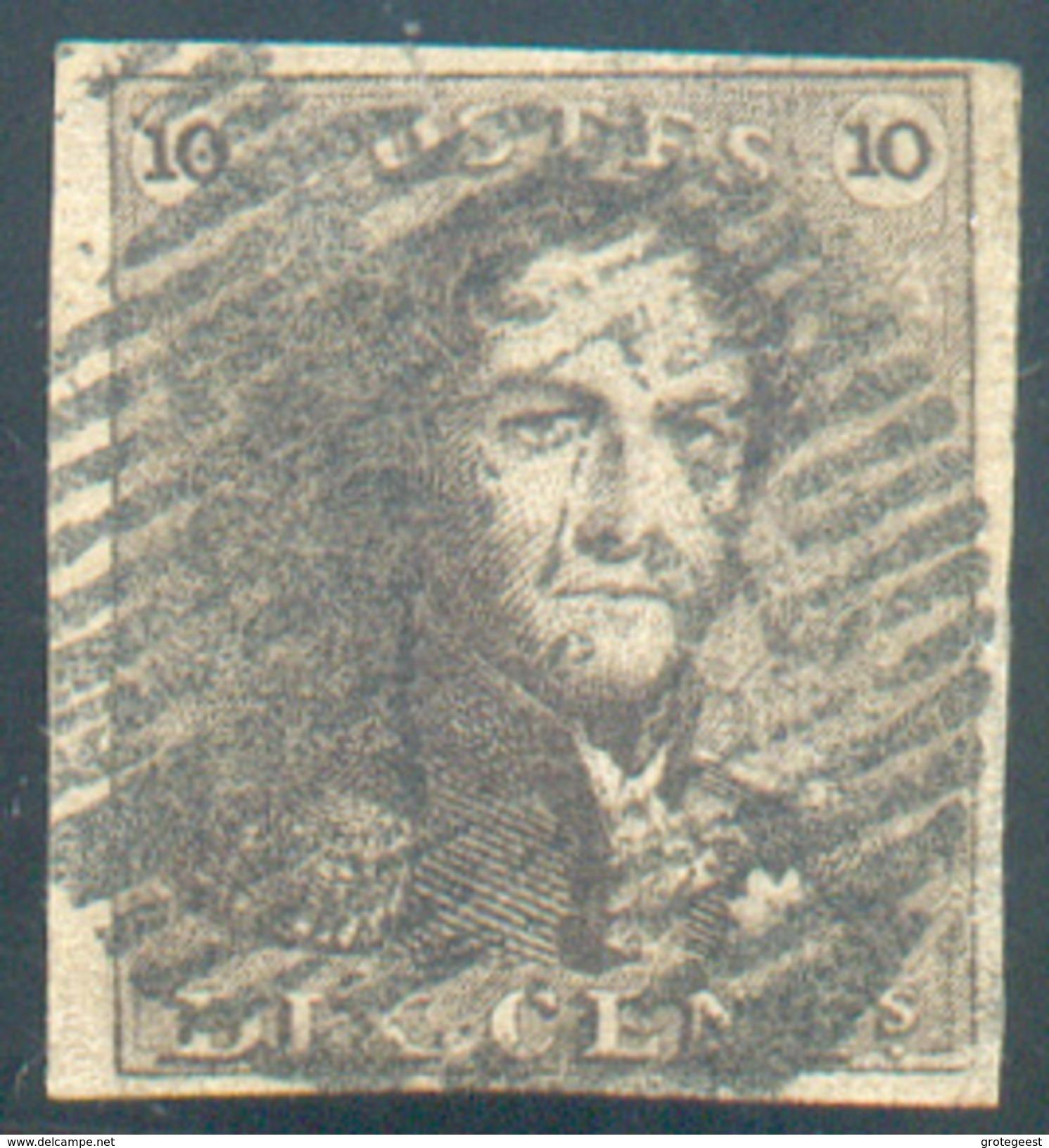 N°1 - Epaulette 10 Centimes Brun, Margée Et  Obl. P.73 LIEGE Finement Apposée - 11623 - 1849 Epaulettes