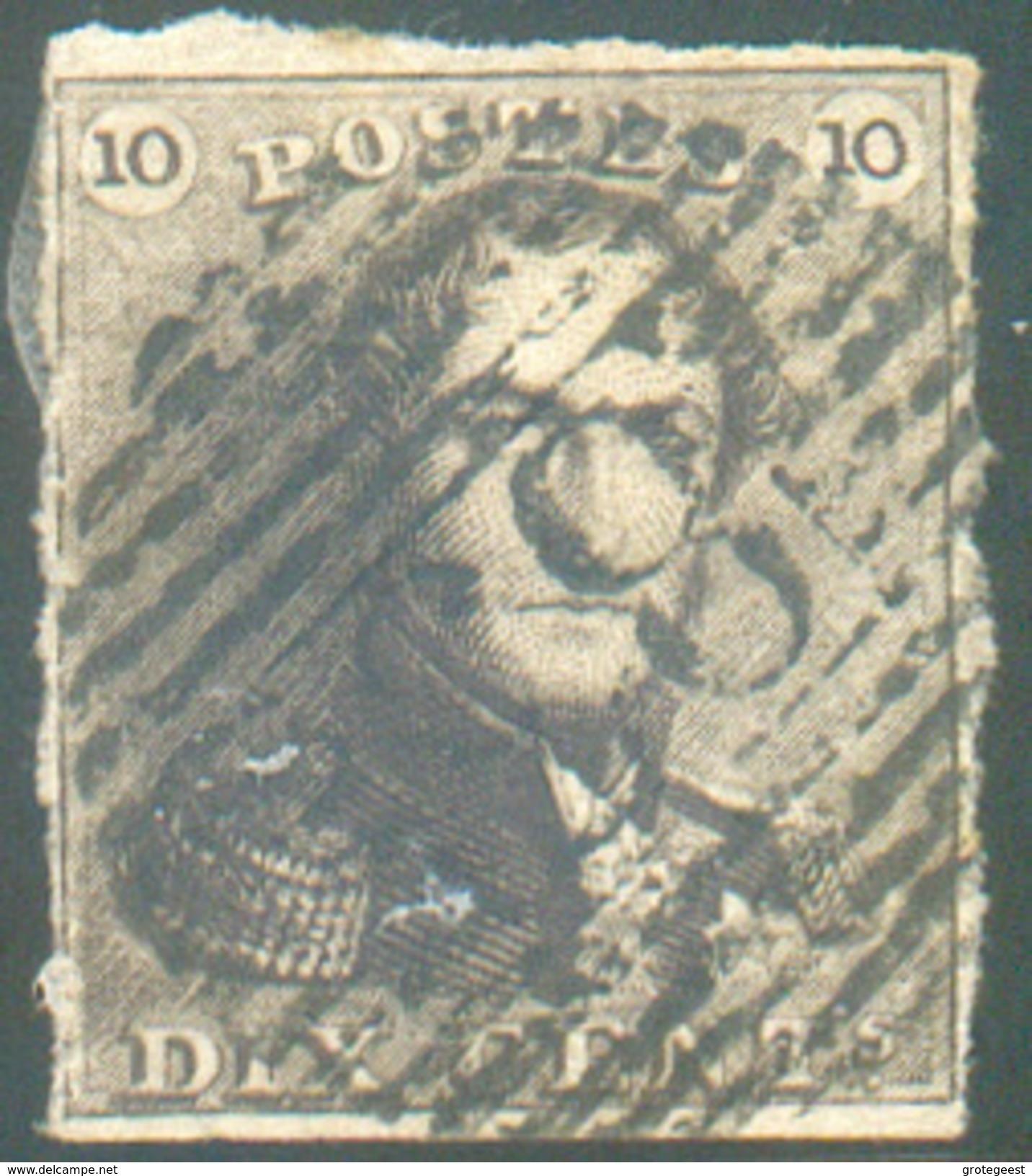 N°1 - Epaulette 10 Centimes Brune, Juste Margée, Obl. P.83 MONS  - 11632 - 1849 Epaulettes