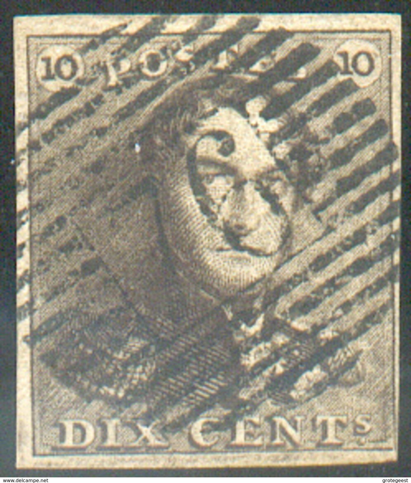 N°1 - Epaulette 10 Centimes Brun, Très Bien Margée Et Obl.P. 76 LOUVAIN Idéalement Apposée.  Superbe - 11645 - 1849 Epaulettes