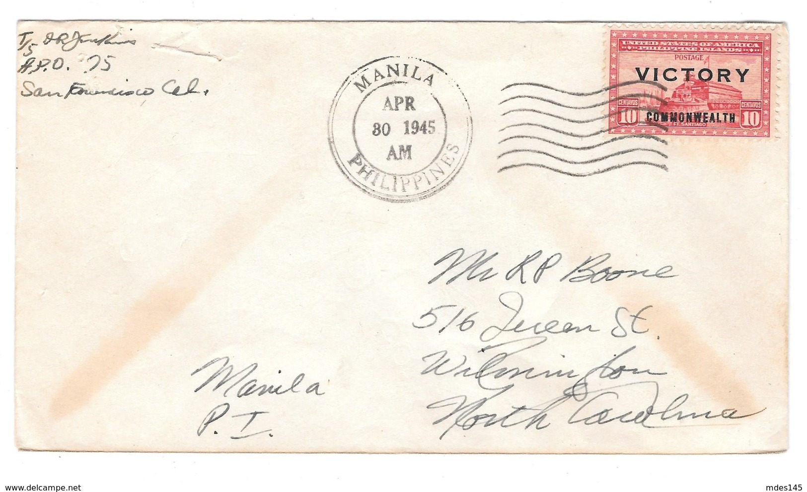 Philippines Manila 3 Covers Victory Issues April 30 1945 Sc. 486 487 489 - Philippines