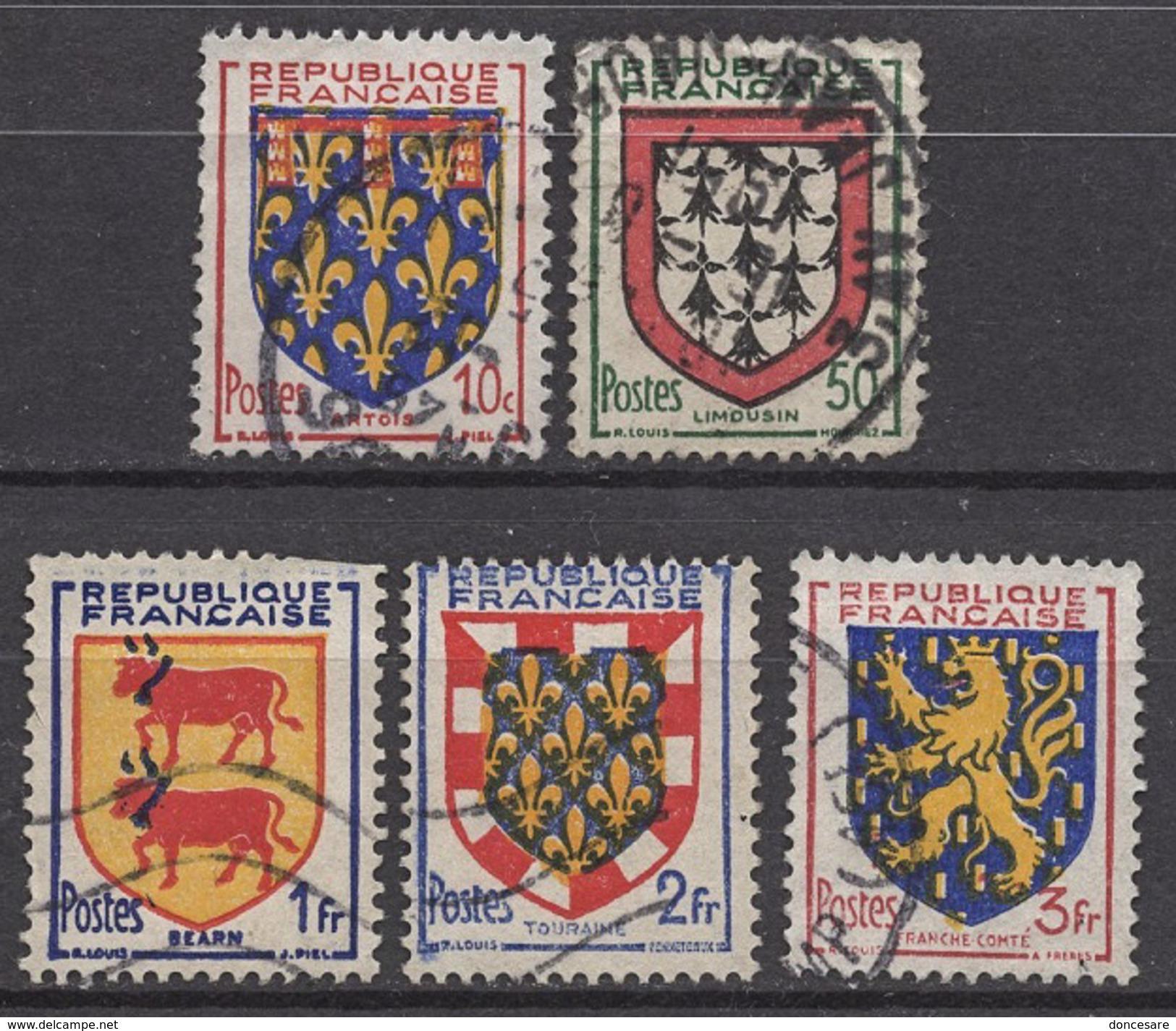FRANCE 1951 - SERIE  Y.T. N° 899 A 903  - 5 TP OBLITERES - Francia