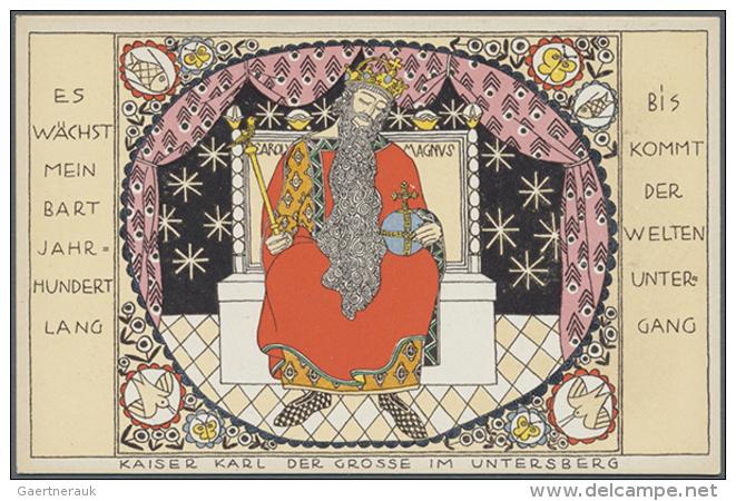 """WIENER WERKSTÄTTE, WW 919 Berthold Löffler """"KAISER KARL DER GROSSE AM UNTERSBERG"""", Ungebraucht Und In... - Illustrators & Photographers"""