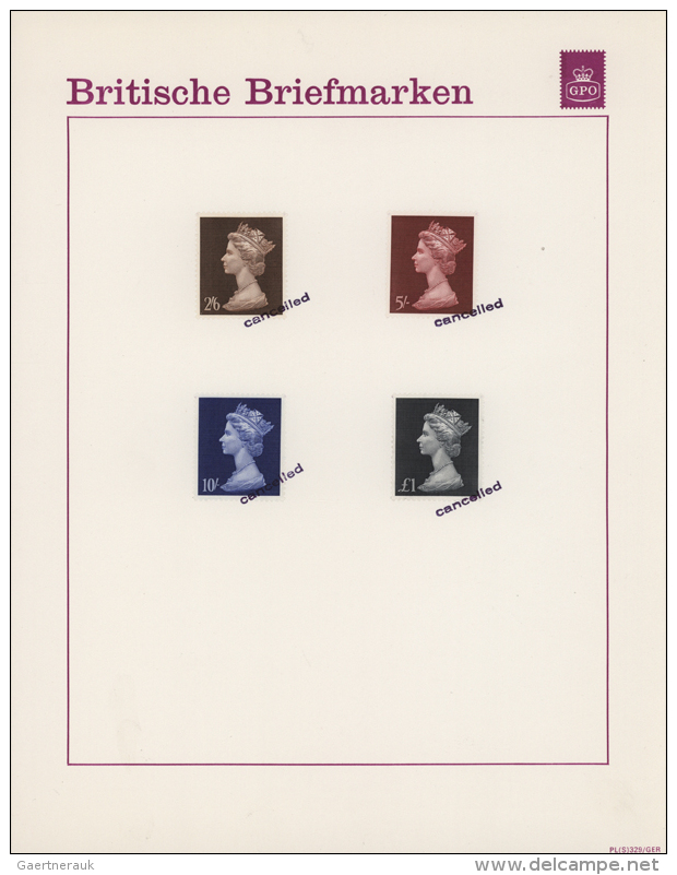 1964/1970, Collection With 45 Machin And Commemorative Stamps On 11 GPO German Publicity Sheets. The Stamps Have... - Machins
