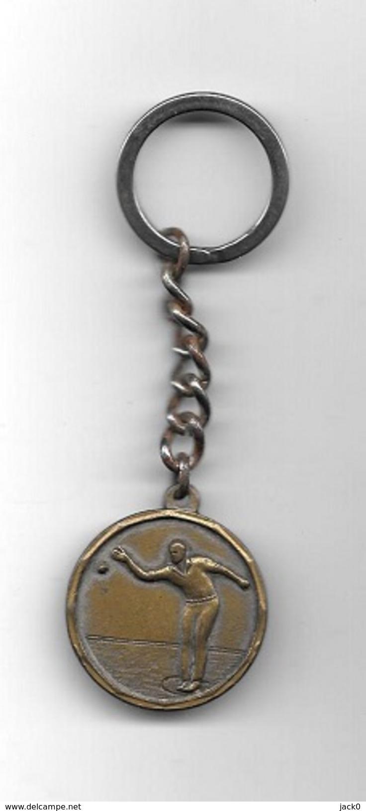 Porte-clés  Ancien, Sport  Pétanque FSGT, 1 Er  CHAMPIONNAT DE FRANCE PETANQUE  DOUBLETTES  SEPTEMES 1986 - Bowls - Pétanque