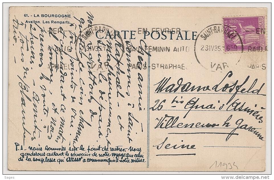 SAINT RAPHAEL Var, EN FEVIER RAID FEMININ AUTO Sur CPA Au Type PAIX. 1935 - Marcophilie (Lettres)