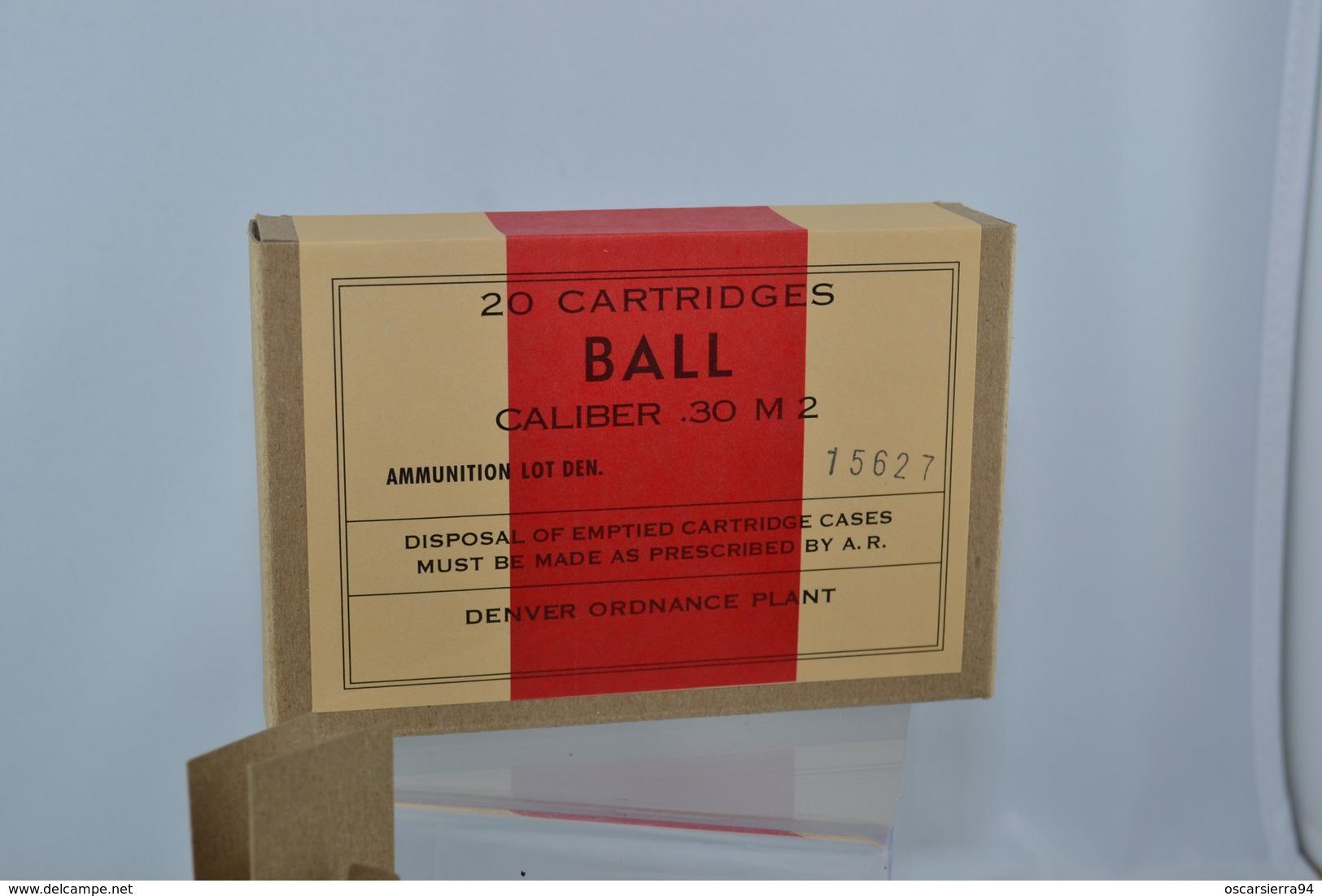 REPRODUCTION  Boite De Munition US - Calibre 30.06 M2 Balle Ordinaire - Vide - à Monter - Militaria