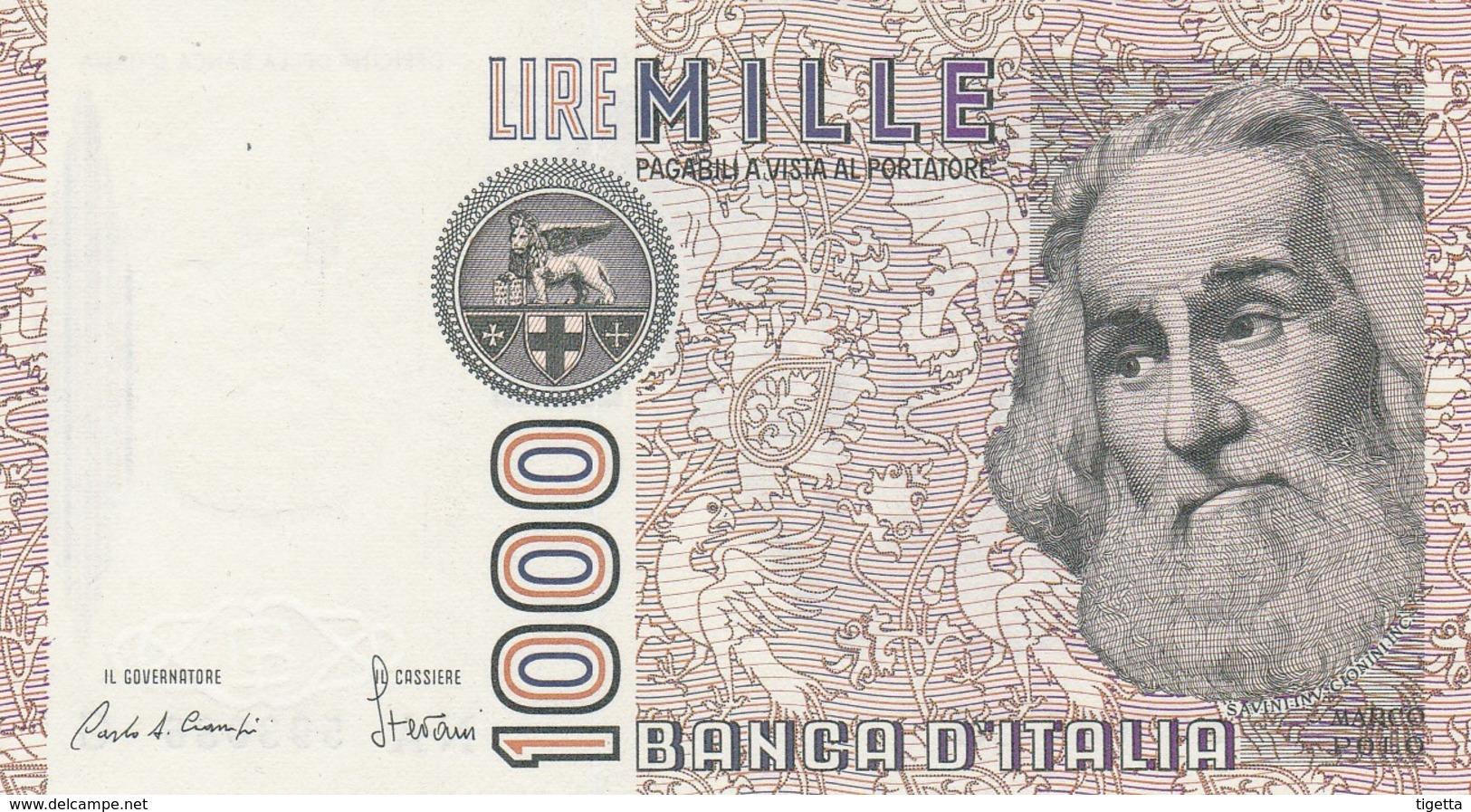 ITALIA BANCONOTA DA LIRE 1000 FDS MARCO POLO DECRETO MINISTERIALE 6/1/82 SERIE QD 995633 T - [ 2] 1946-… : République