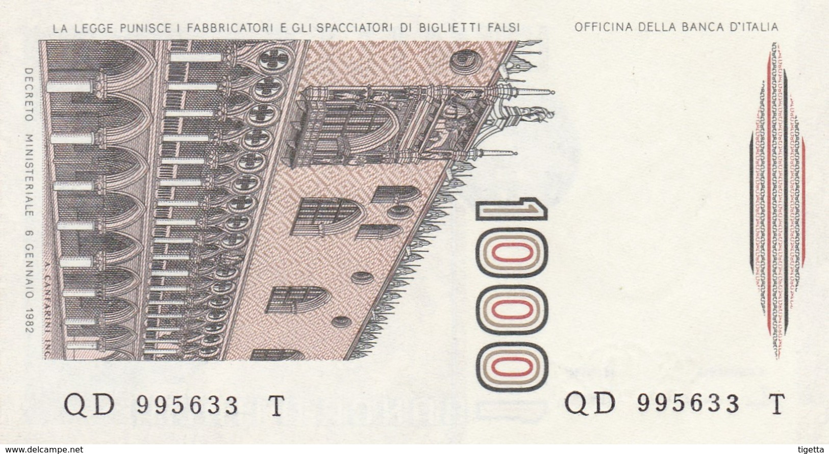 ITALIA BANCONOTA DA LIRE 1000 FDS MARCO POLO DECRETO MINISTERIALE 6/1/82 SERIE QD 995633 T - 1000 Lire