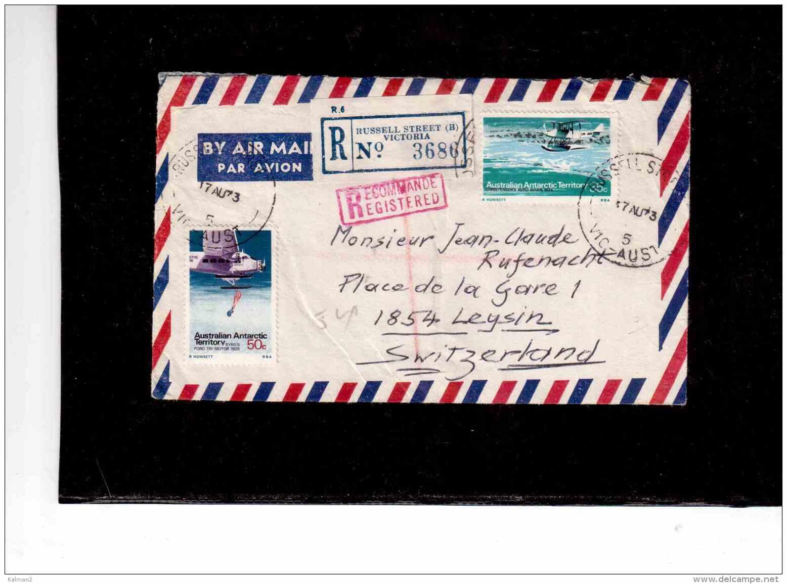 TEM8936     -   AUSTRALIAN ANTARTIC TERRITORY  POSTAL HISTORY     /     REGISTERED AIR MAIL LETTER TO SWITZERLAND5 - Storia Postale