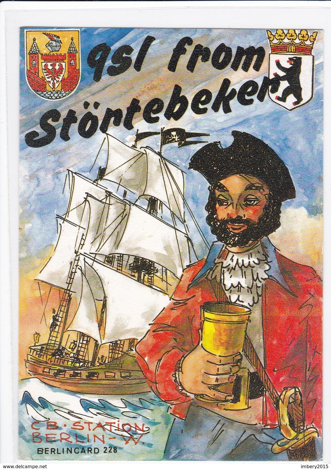 QSL Karte, CB Funk Station, STÖRTEBEKER, Berlin, West Germany, Segelschiff, - CB-Funk