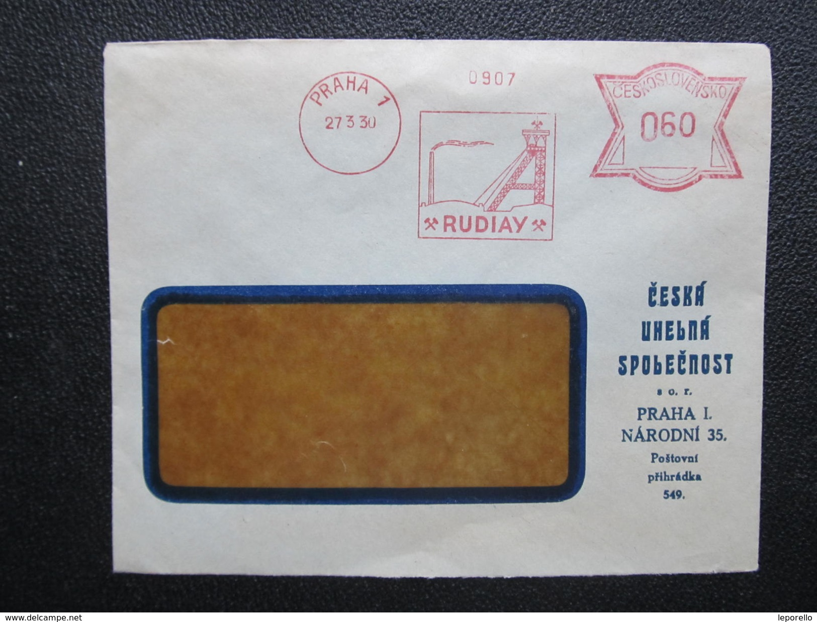 BRIEF Praha Rudiay Bergwerk Kohle 1930 Frankotype Freistempel Postfreistempel  /// O5015 - Tschechoslowakei/CSSR