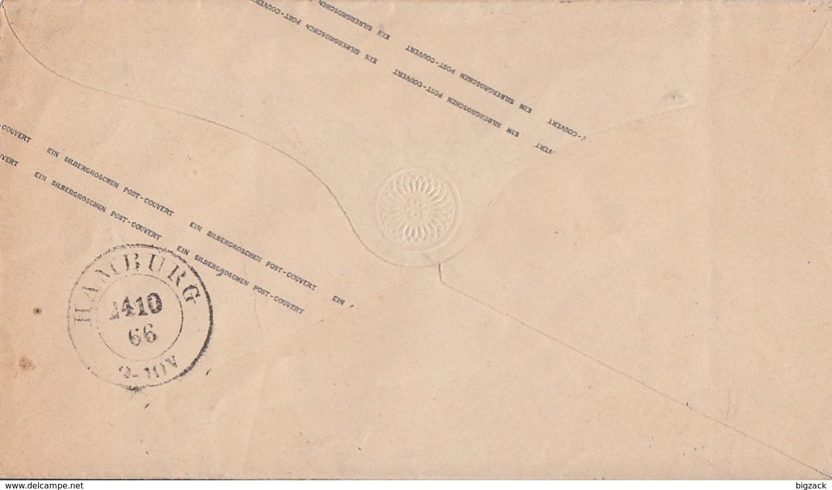 Preussen GS-Umschlag 1 Silb.Gr. Blauer K1 Stade 23.10. Gel. Nach Hamburg - Preussen