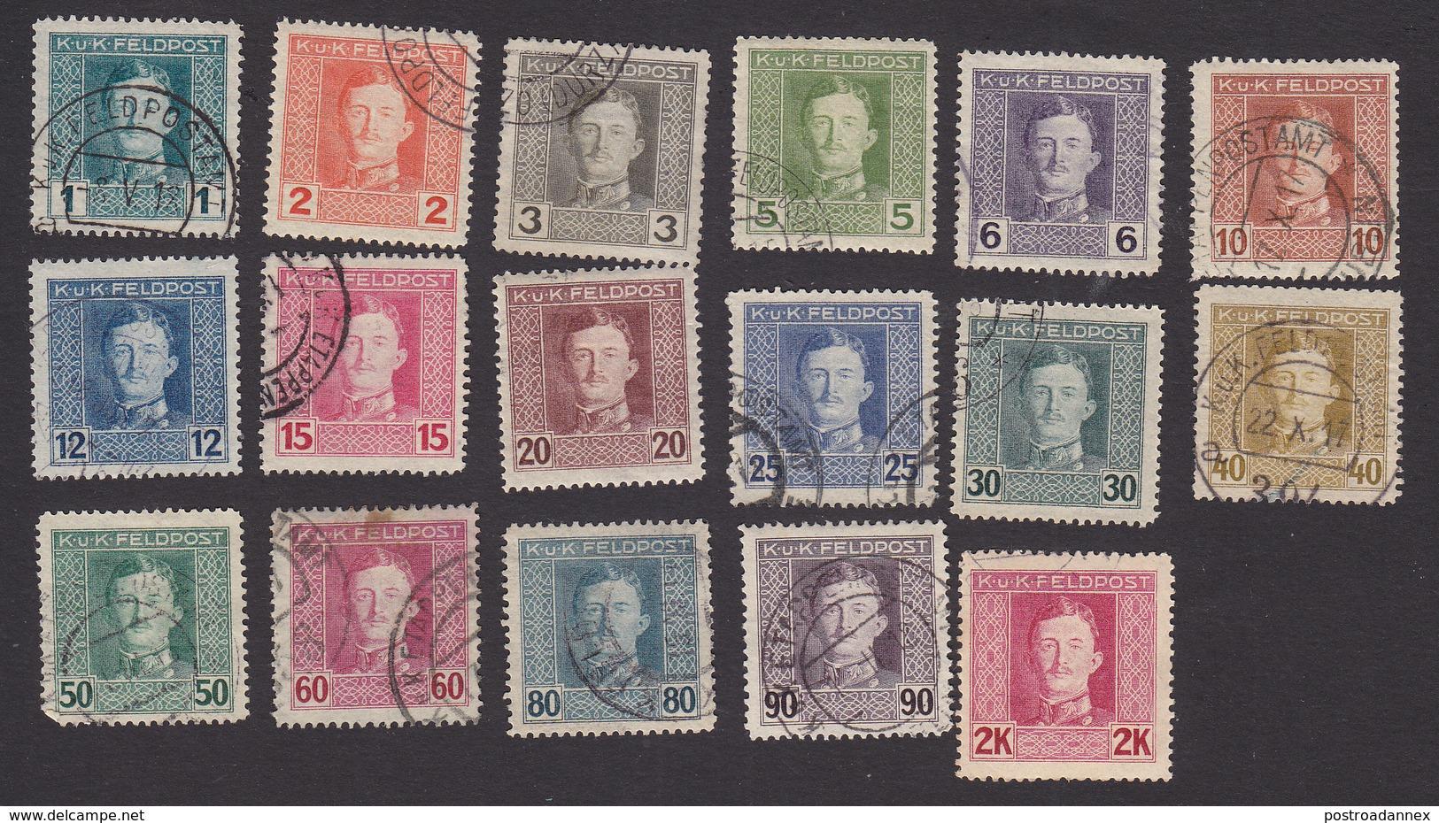 Austria, Scott #M49-M65, Used, Emperor Karl I Military Stamps, Issued 1917 - Austria