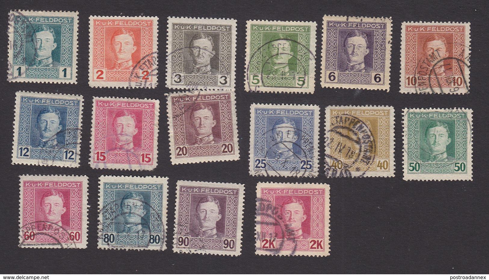 Austria, Scott #M49-M58, M60-M65, Used, Emperor Karl I Military Stamps, Issued 1917 - Austria